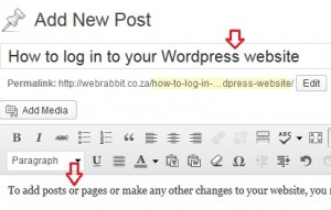Adding title and body text to a wordpress post or page