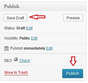 Save the wordpress page or post