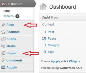 Wordpress dashboard - add posts and pages