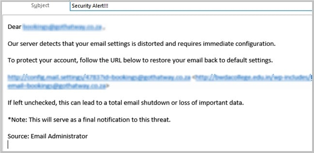 Email settings distorted scam