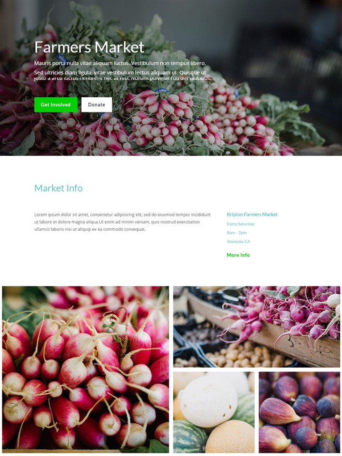 Farmers market website layout