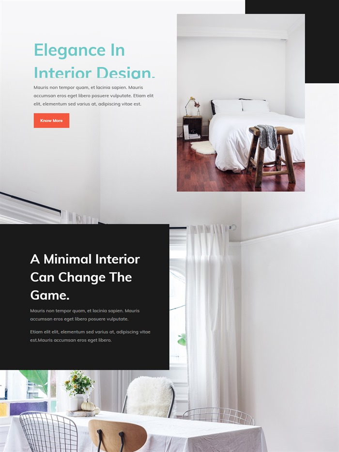Interior design website layout