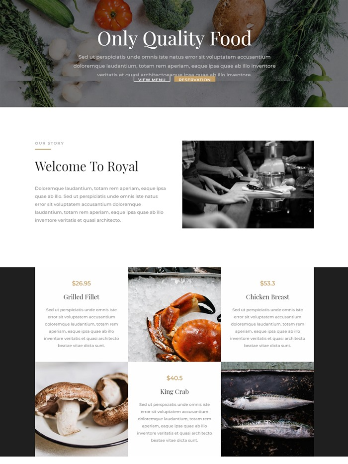 Restaurant website layout