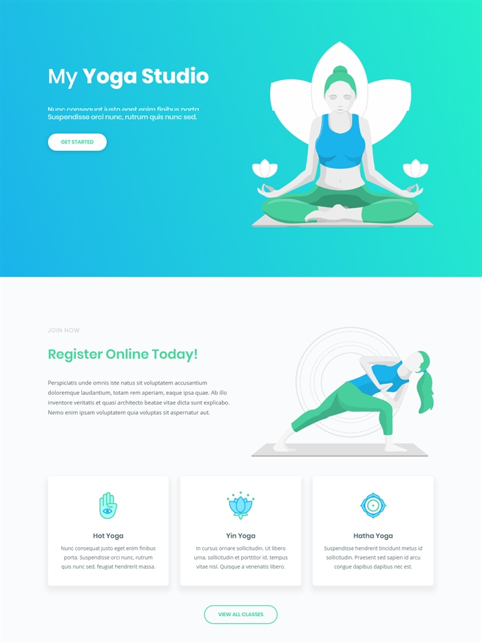 Yoga studio website layout